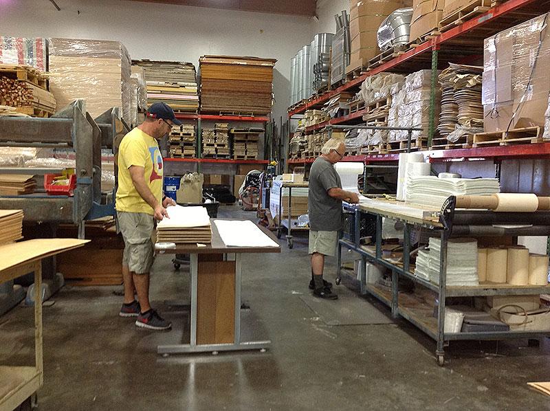 Ernie & CB cutting fiberglass for RETRO SNOBOARDS!