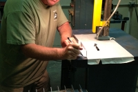 CB cutting out fins on a bandsaw!